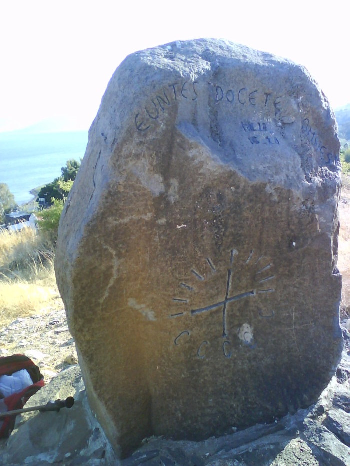 rock with inscription on the Mount of Beatitudes
