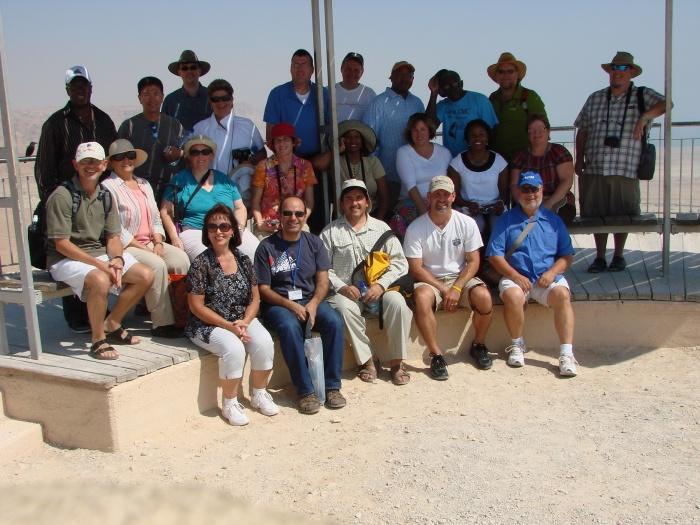 Us pilgrims atop Masada