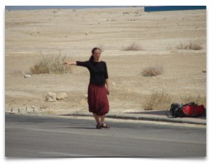 woman hitch hiker Dead Sea web